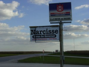 Narcisse For Governor Sign Madison County, Iowa